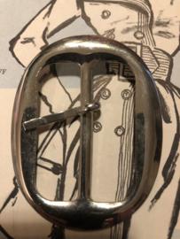 Gespen | Ovaal | Zilver | Metalen gladde ceintuur gesp (6.5)  - 60s-70s