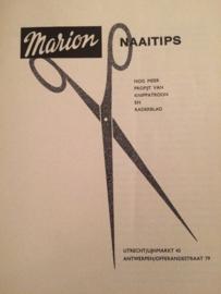 Boeken   Naaien   VINTAGE   Marion Naaitips nog meer profijt van knippatroon en radarblad   1966