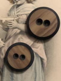 Knopen | Bruin | 25 mm, 20 mm en 10 mm drie verschillende knopen met zwart randje