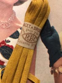 Band | Geel | Antiek Frans okergeel borduurlint RBC 'Lacet a Broder' pon 70 - coloris no. 3  - ca. 1900-1910