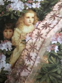 Kant   Roze   Vintage poeder-roze organza kant met bloemetjes  (2 cm)