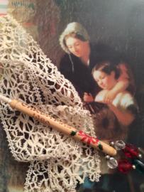 1990 - Houten kantklosje Alban Lacemakers Christmas | rood, wit  en groen