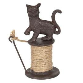 Clayre & eef | touwhouder kat/poes | 8x11x16 cm | bruin