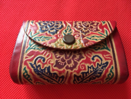 Vintage klein leren munten beursje | Oriëntaals | Bohemian stijl | jaren '70