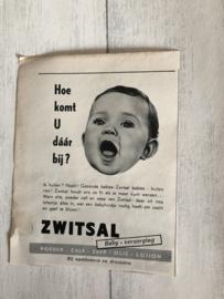 1954 | Advertenties |  Advertentie van Cinderella Lakens en Slopen en Zwitsal (Tweezijdig)