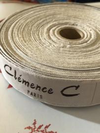 "Band | Beige | Vintage Merkband | ""Clémence C Paris"" Fashion | per vijf blokjes | jaren '50"