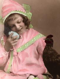 Frankrijk | Pasen | 'Joyeuses  Paques' R1864: meisje met eitjes en kip -  (8-4-1909)