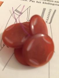 Knopen | Rood - Roest/mat met reliëf 1 oogje | Vintage