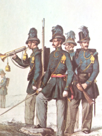 Verzamelkaart leger uniformen nr. 21 | België | Karabiniers | 1854