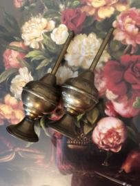 Geel koper | Twee antieke Arabische rozenwater houders | ca. 1900