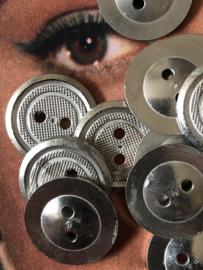 Knopen | Zilver - 17 mm metalen knoopjes 2 gaatjes | jaren '50