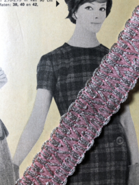 Band   Roze   Vintage sierband met zilver accent (2,5 cm) - jaren '60