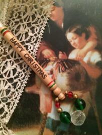 1999 - Houten kantklosje Alban  Lacemakers Happy Christmas | Rood, groen en transparant