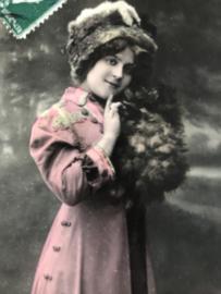 Frankrijk | 1912 - Carte Postale - Bonne Année 'Meisje met bontmutsje en mof in kerstsfeer - postzegel 5 cent
