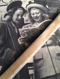 Vintage band  | Beige fluweel | 0,5 cm