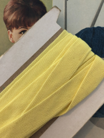 Band | Geel | Vanillegeel zacht keperband | (1.5 cm) 100% katoen
