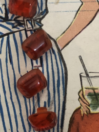Knopen | Rood - 10 mm Pecam carré licht gemarmerd met oranje achtige gloed