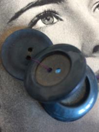 Knopen | Blauw  -  25 mm met reliëf (Jeans donker) - 2 gaatjes | jaren '50