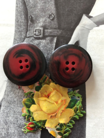 Knopen | Rood - 30 mm bordeaux/marmeren knopen | jaren '60