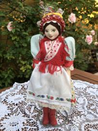 Hongarije | Klederdracht | Schitterend vintage popje met papier-maché hoofdje  en stoffen beentjes  '50s 'Autarkia'