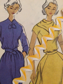 Vintage band | Geel  met wit zigzag band licht glanzend | Katoen | 1 cm