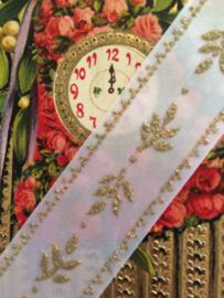 Lint | Wit - Folklore | blaadjes met gouden randje 1 cm