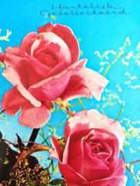 """1960 - Verjaardag Vintage glanskaart Rozen """"Hartelijk Gefeliciteerd"""""""