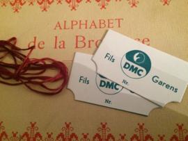 DMC Garens Fils - Twee stuks vintage decoratieve wikkelkaartjes borduurgaren | 1950-1960