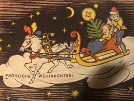 Kerstmis | Ansichtkaart - Briefkaart - Fröliche weinachten! Kerstman met kindje in slee en paardje ca. 1950