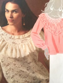 """McCall's mooie kanten blouse patroon met """"ruffle"""" kraag nr. 5930 maat 4-14"""
