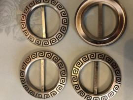 Gespen | Rond | Zilver | Kunststof ronde gesp met patroon jaren '60-'70