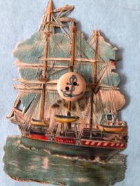 Hout | Anker - houten knoopje 1 cm met een blauw ankertje (2 gaatjes)