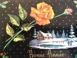 "1964 | Nieuwjaar | Vintage Franse briefkaart ""gele roos""  bij huisje en vijver met sneeuw | Bonne Annee"""