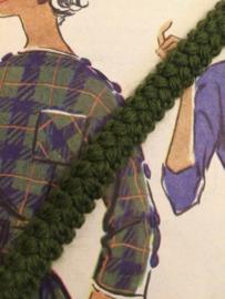 Band | Groen | Legergroen geribbelde wol 1 cm - 'Wooly Green'