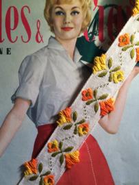 Vintage band | Oranje en gele bloemen | Katoen | 3 cm