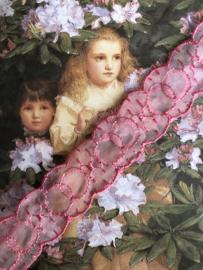 Kant | Roze | Vintage framboos-roze organza kant (2 cm)