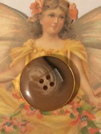 Goud | Jasknoop 'marmer'  3 cm - 4 gaatjes - kunststof | jaren '60