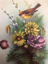 "1957 | Briefkaart Musje met bloemen en glittertjes ""Bonne Annee"" | Postcard Edition Univers no 426"