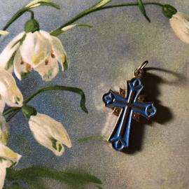 Onbekend | Religie | Katholiek | Vintage mooi kruisje blauw met goudkleur ca. 1950