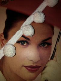 Band | Wit | Spectrum UK - Extra breed super mooi pompon bolletjesband 100% katoen - (1cm - balletjes 2 cm)