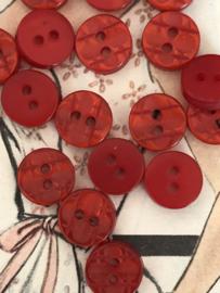 Knopen | Rood - 10 mm reliëf met twee gaatjes | vintage jaren '60