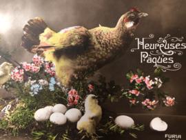 Briefkaarten | Pasen | 'Hereuses Paques' FURIA 554 bloemen, kip kuikens en paaseitjes (1915-1920)