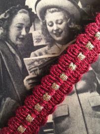 Vintage band | Rood met een gouden nopje | Wol | 1 cm | '60s
