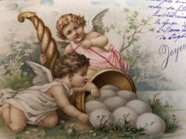 Pasen | Ansichtkaart - Briefkaart - Engeltjes met eieren met een bijzondere postzegel Duinkerke - 1907