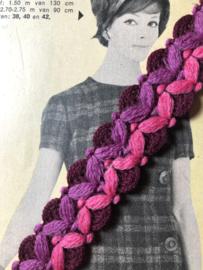 Band | Paars | diverse kleuren roze, paars, bordeaux vintage sierband (2 cm)