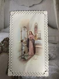 Kaarten | Jezus | Bidprentje | Eucharistieviering | Prachtig kaartje met kanten randje - 1960