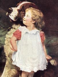 1919 | Zwitserland | Meisje met St. Bernhardhond met liefdesbericht