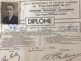 "1942 - Vintage diploma automonteur A. Talmasse & Cie. van ""Joseph Minet"""