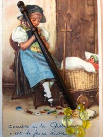 Mahoniehout kantklosje met kralen | Lace Bobbin Turned Treen Beads Spangles Pillow Lace Mid Victorian | 1850-1870