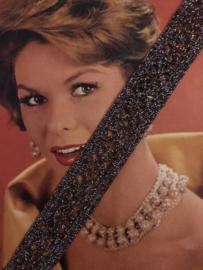 Band | Glitter | Paarse/zwarte ondertoon vintage glitter sierband (2,5 cm)